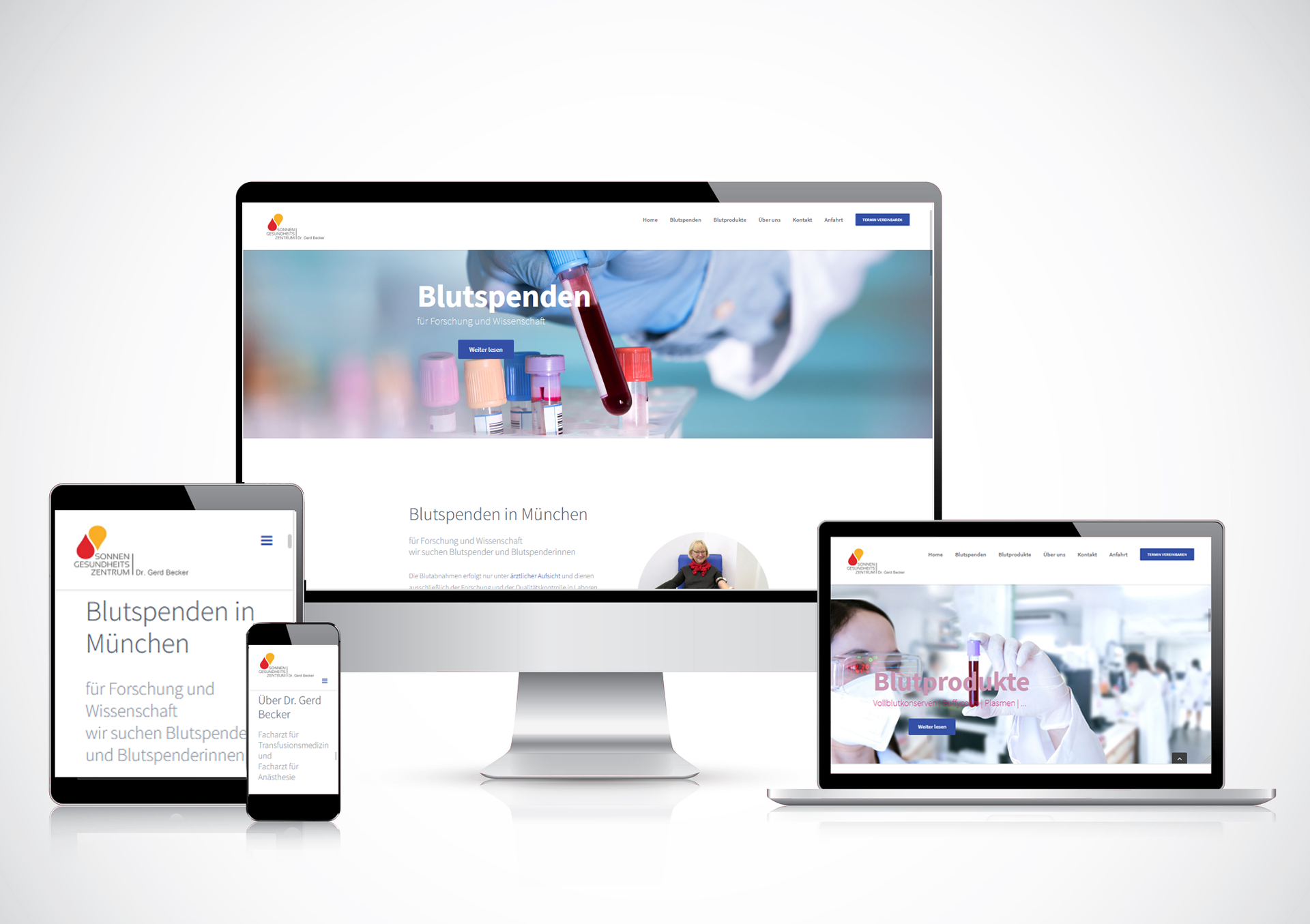 Website: Blutspenden in München, Dr. Gerd Becker