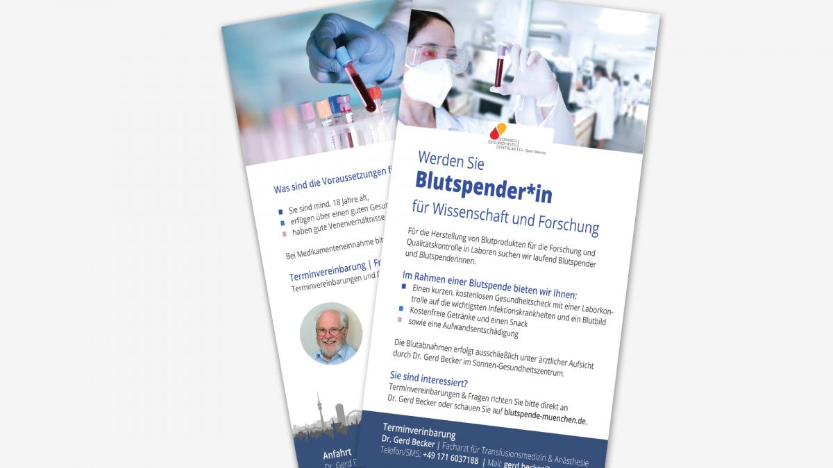 Flyer: Blutspenden Dr. Gerd Becker im Sonnengesundheits Zentrum München